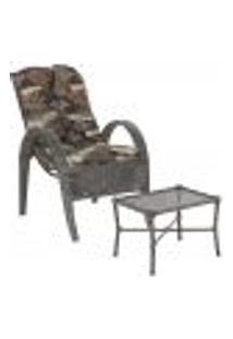 Jogo Cadeira 1Un E Mesa P/ Jardim Edicula Varanda Descanso Trama Napoli Plus Tabaco A36