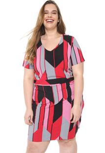 Vestido Cativa Plus Curto Geométrico Rosa/Preto