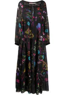 Stella Mccartney Vestido Longo Com Estampa Floral - Preto