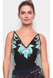 Body Colcci Canelado Floral - Feminino-Preto+Laranja