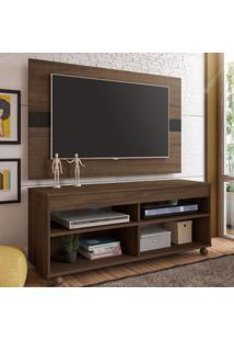 Rack Com Painel Para Tv Até 47 Polegadas Cross Amendoa/Preto - Artely