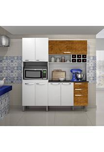 Armário De Cozinha 8 Portas Milão Sallêto Móveis Branco/Mel Demolição