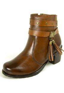 Bota Dhatz Ankle Boot Com Fivela Não Possui Cadarço Whisky