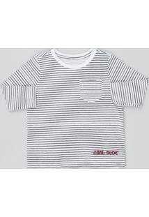 Camiseta Infantil Listrada Com Bolso Manga Longa Off White