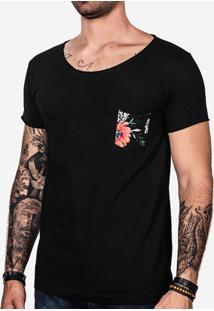 Camiseta Hermoso Compadre Bolso Estampado Masculina - Masculino-Preto
