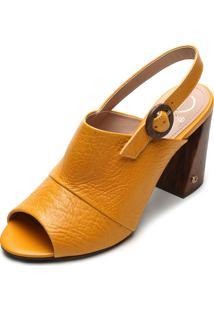 Sandália Couro Dumond Textura Amarela
