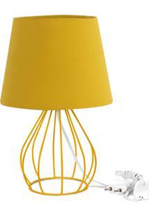 Abajur Cebola Dome Amarelo Mostarda Com Aramado Amarelo - Amarelo - Dafiti