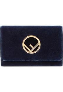 Fendi Clutch Com Logo - Azul