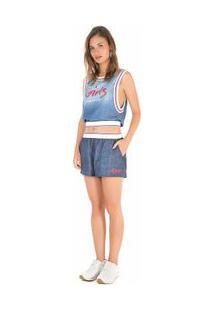 Regata Decote Redondo Detalhe Elastico Jeans Pp