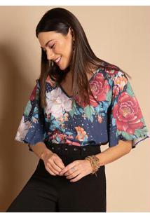 Blusa Floral Marinho Decote V E Mangas Amplas