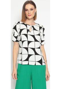 Blusa Geométrica Com Vazado- Off White & Preta- Vip Vip Reserva