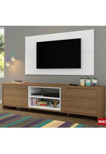 Rack Com Painel Madesa Porto Para Tv Até 50 Pol Rustic E Branco