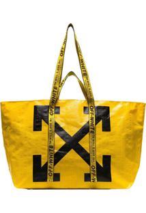 Off-White Bolsa Tote Com Logo Diagonal Arrows - Amarelo