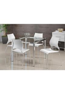 Conjunto De Mesa Com 4 Cadeiras Monalisa Branco