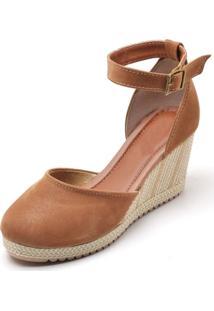 Sandália Ousy Shoes Anabela Caramelo