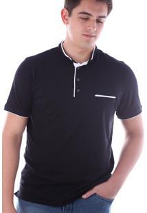 Camisa Polo Cp0718 Preto Traymon Modelagem Slim
