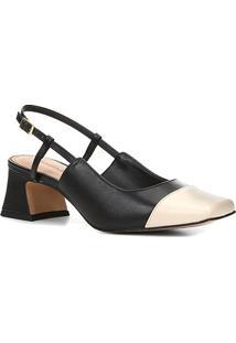 Scarpin Couro Shoestock Slingback Bicolor Salto Médio - Feminino-Off White+Preto