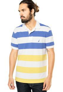 Camisa Polo Nautica Listras Branca