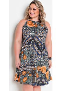 Vestido Evasê Com Alças Étnico Plus Size