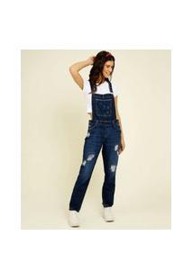 Macacão Feminino Jeans Destroyed Bolsos