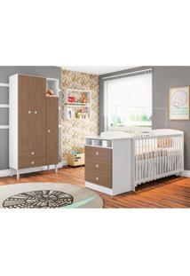 Conjunto Quarto De Bebê Com Guarda-Roupa Doce Sonho E Berço Fofura