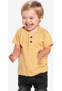 Camiseta Henley Amarela Linho Niños 500056