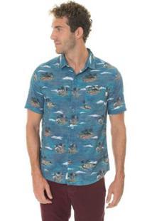 Camisa Timberland Vintage Beach Masculina - Masculino-Azul