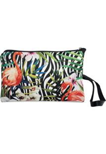 Necessaire Clássica Em Neoprene Tritengo - Zebra Flamingos Floral - Feminino