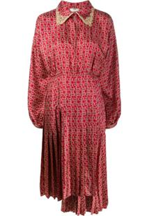 Fendi Vestido Estampado - Vermelho