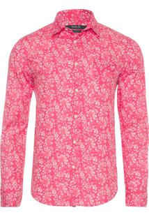 Camisa Masculina Floral - Vermelho