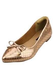 Sapatilha Bico Fino Love Shoes Matelasse Metalizado Laçinho Cobre