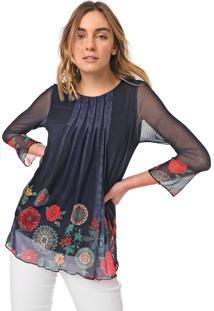Blusa Desigual Tule Rachel Azul-Marinho