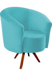 Poltrona Decorativa Angel Suede Azul Tiffany Com Base Giratória Madeira - D'Rossi