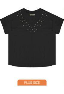 Blusa Plus Size Box Feminina Secret Glam Preto