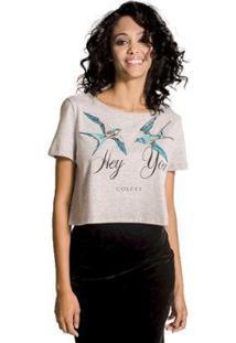 Camiseta Colcci Cropped Bordada Feminina - Feminino-Cinza