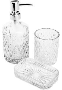 Conjunto De 3 Peças De Vidro Para Banheiro Wagner