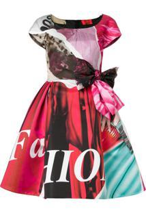 Moschino Vestido Evasê Estampado - Rosa
