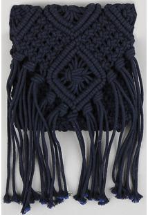 Bolsa Transversal Feminina Dress To Macramê Com Franjas Azul Marinho - Único