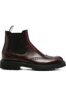 Scarosso Ankle Boot Com Detalhe Brogue - Vermelho