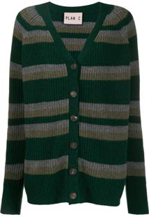 Plan C Cardigan Com Listras - Verde