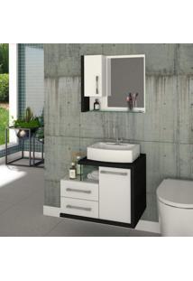 Conjunto Para Banheiro Gabinete Com Cuba Rt41 E Espelheira Legno 650W Compace Branco C/Preto Onix