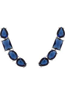 Brinco Earcuff The Ring Boutique Pedras Cristais Azul Safira Ródio Ouro Branco