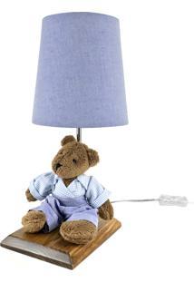 Abajur Toys Escuro Urso Azul Quarto Bebê Infantil Menino - Kanui