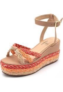 Sandália Anabela Mr Shoes Salto Alto Detalhe Trança Confortavel - Nude/Vermelho