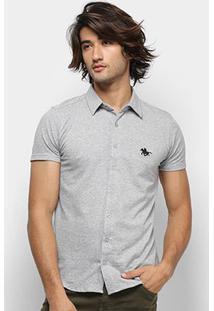 Camisa Manga Curta Polo Rg 518 Pontilhada Logo Masculina - Masculino-Grafite