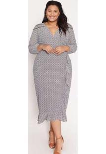 Vestido Almaria Plus Size Pianeta Estampado Cinza
