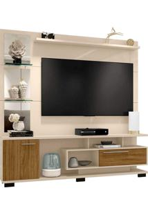 Estante Home New Tucson P/ Tv De Até 60 Polegadas C/ Espelhos Off-White/Cinamomo Moveis Bechara