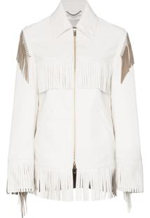 Stella Mccartney Faux Leather Fringed Jacket - Branco