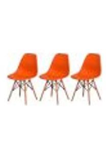 Kit 3 Cadeiras Charles Eames Eiffel Laranja Base Madeira Sala Cozinha Jantar
