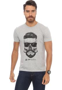 Camiseta Caveira - Cinza & Pretavip Reserva